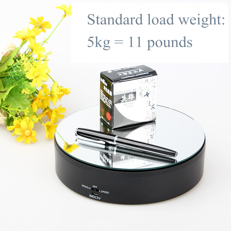 Load 5kg Mirror glassTop Rotating display stand electric turntable High grade watch jewelry camera video shooting
