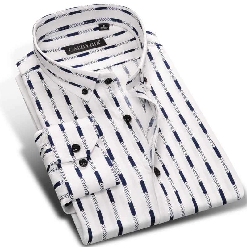 Men S Spring Long Sleeve Camisa Social Button Down Striped Dress Shirt 100 Cotton Comfort Soft