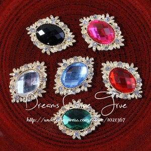 Image 3 - 200 adet/grup 6 Renk Dekoratif düğmeler Metal Rhinestone düğmeler craft Flatback Kristal düğmeler At göz altın düğmeler mix