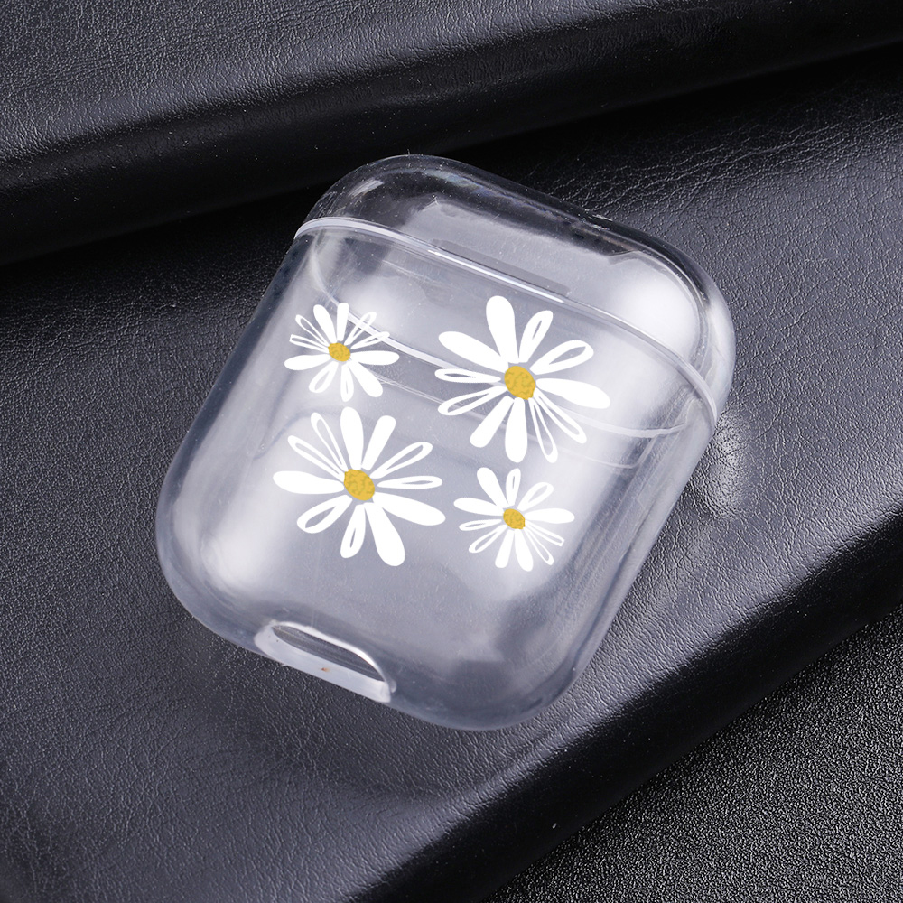 Cases For Airpods Cute White daisy Painted Transparent Hard PC Cases For AirPods Cases Protective Cover Wireless Earphone Case in Earphone Accessories from Consumer Electronics