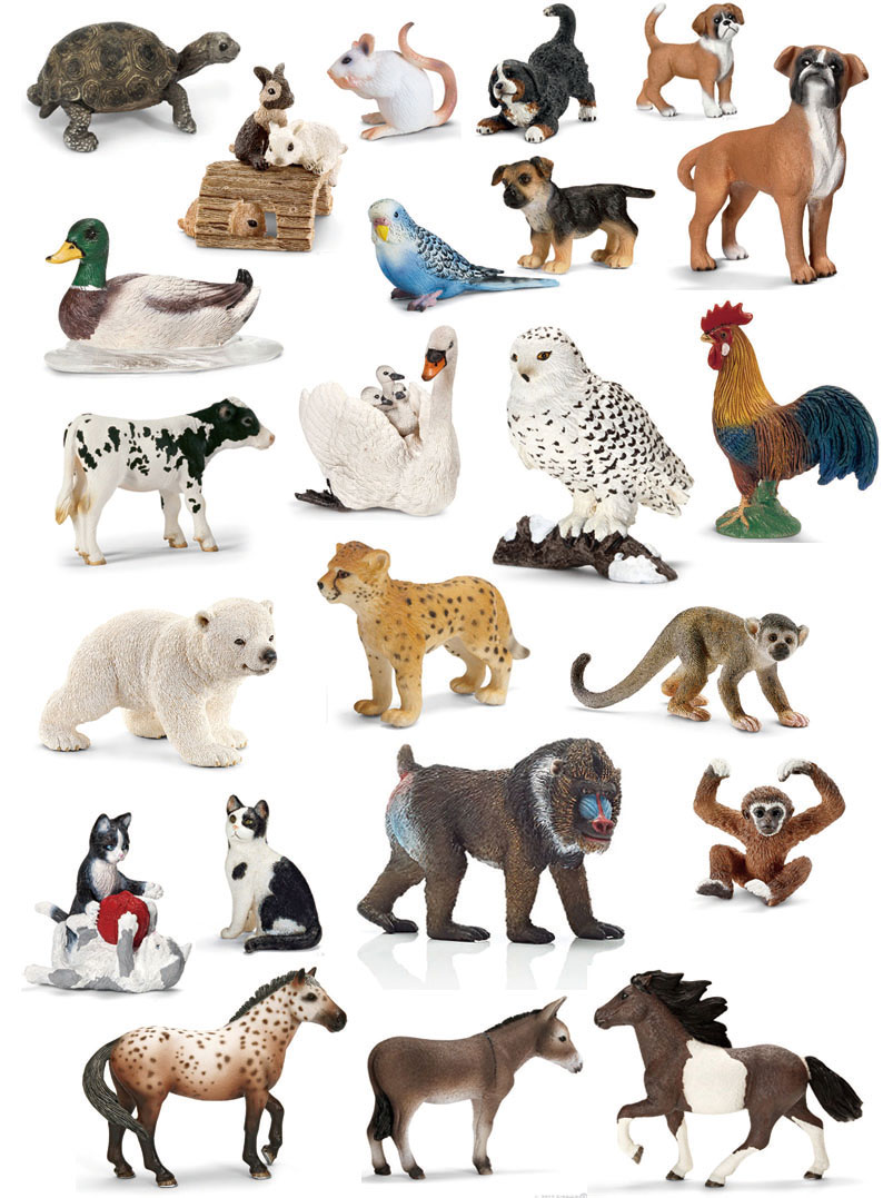 Original genuine wild life zoo jungle farm animals model series 2 rooster goat duck otter kids educational toy for children gift Платье