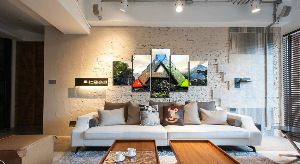5 Panel Ark Survival Evolved Game Canvas Printed Painting Living Room Wall Art Hd Picture Artworks Poster With Free Shipping Worldwide Weposters Com