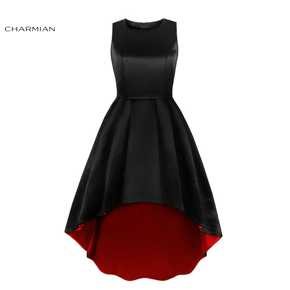 Charmian Women's Elegant Sexy Black Round Neck Sleeveless High Low Dress High Waist Evening Party Dress