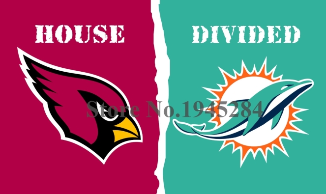 NFL Arizona Cardinals Miami Dolphins House Divided Flag 3x5ft 150X90cm Polyester Flag Banner, free shipping