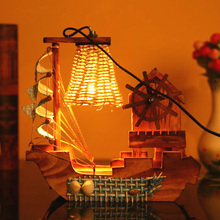 Multifunctional Wooden Sailing Desk Lamp with Music Box Retro Stylish Crafts Study Decor Home Wood Decorations Gifts