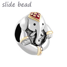 New Slide beads Thailand Elephant Animal Beads Charms Bracelets Fit All Brands, fit Pandora bracelet(China)