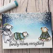 YaMinSanNiO Cute Bears Clear Stamps and Dies Animals Set Rubber Metal Cutting Dies Craft Diecut Embossing Christmas Gifts Card