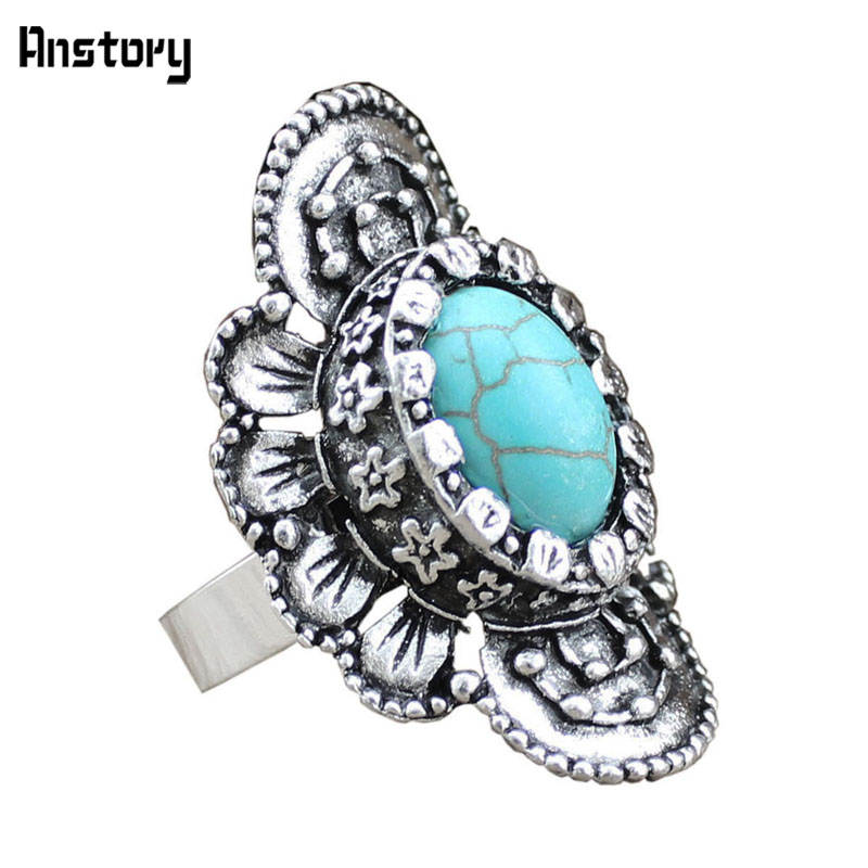 567daf7f1eef5 Curved Leaf Flower Natural Stone Adjustable Rings For Women Vintage Look  Antique Silver Plated Retro Craft Party Gift TR77