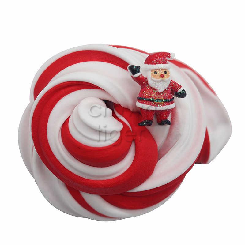 Navidad mullido espuma Slime juguete suministros DIY lizun suave algodón artesanía encantos Lime putty nube antiestrés juguetes para niños