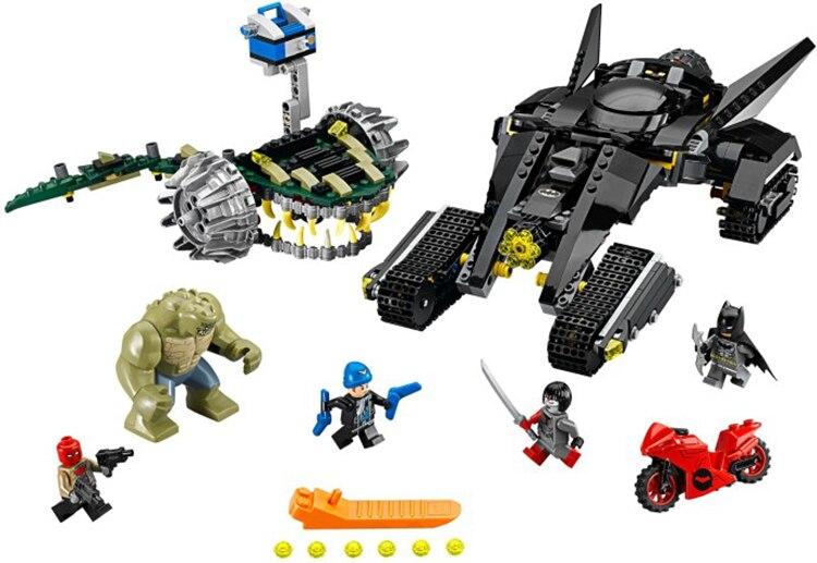 ФОТО Hot DC comics super heroes Batman Killer Croc Sewer Smash building block Katana Red Hood bricks lepins com.lego76055 toys