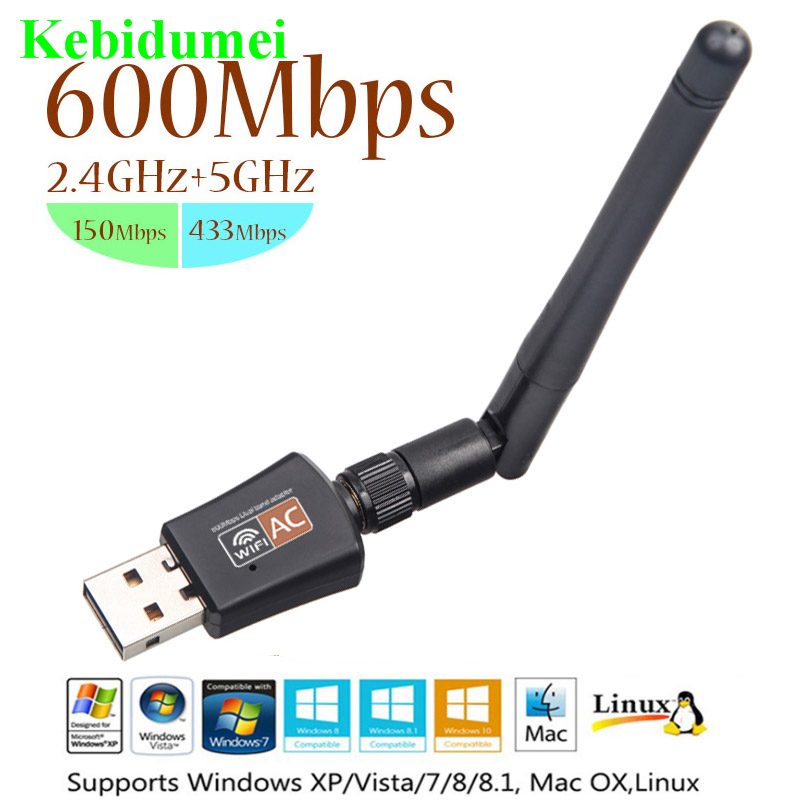 600Mbps Dual Band USB WiFi Dongle Wireless LAN Adapter 802.11ac//a//b 5Ghz//2.4Ghz