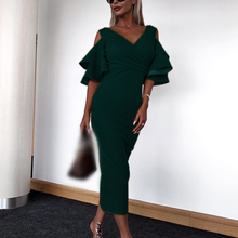 Women Dress New Summer Office Ladies Elegant Sexy Slim Dresses Tight Off-shoulder Bell Sleeve Party V-Neck Solid Fashion Dress off the shoulder pattern bell sleeve crochet trim dress