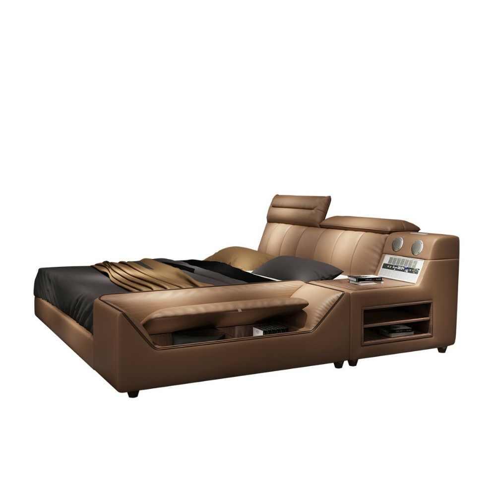 RAMA DYMASTY мягкая кровать из натуральной кожи современный дизайн кровати/мода king/queen Размер мебели для спальни