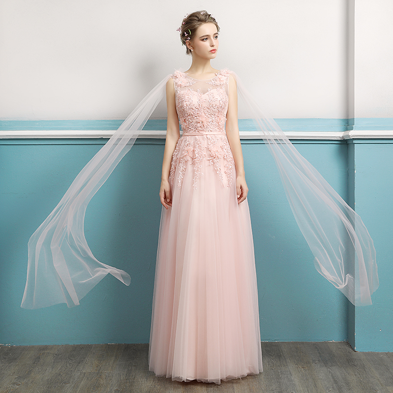 Simple Pink Sheer Neck Beading Flowers Lace Vestidos De Festa Backless A-Line Long   Bridesmaid     Dresses   Prom Party Gowns
