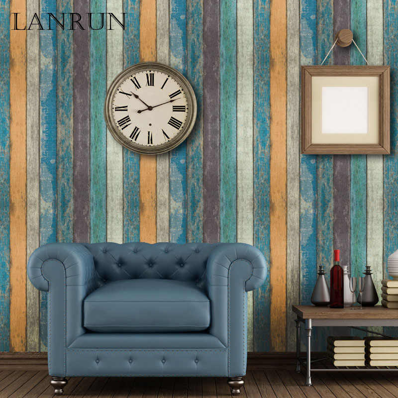 45CM*10M Vintage Wooden Stripe Wallpapers Self Adhesive Wall Paper PVC Waterproof Decorative Wall Stickers Bedroom Home Decor