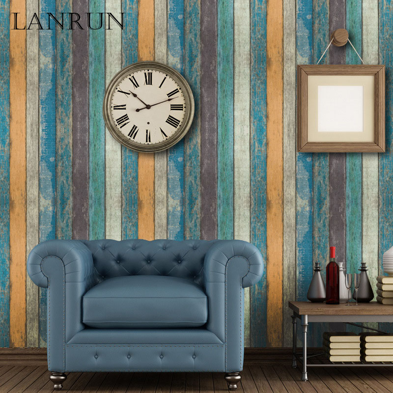 45CM*10M Vintage Wooden Stripe Wallpapers Self Adhesive Wall Paper PVC Waterproof Decorative Stickers Bedroom Home Decor