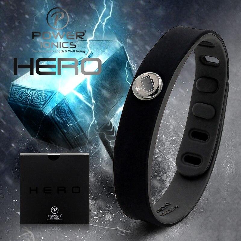 Puissance Ionics Hero Série Thor IDÉE BANDE 3000 ions Sport Étanche Titane Bracelet Sain Bracelet Équilibre Corps