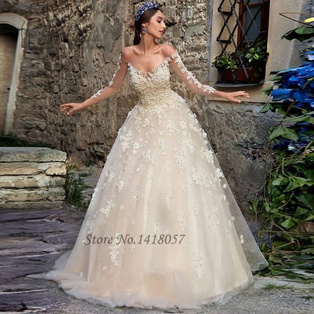 Vintage Boho Hochzeitskleid Spitze Blumen Crystals Prinzessin