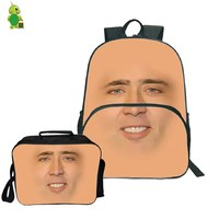 Nicolas Cage Face Backpack 2Pcs/Sets Travel Rucksack for Women Men Teenagers School Laptop Backpack with Cooler Bag
