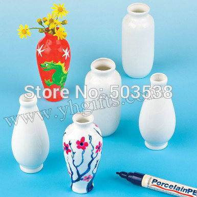 12PCS/LOT.Handpainted ceramic flower vase,Kids toys.DIY crafts.Drawing toys.Wholesale.Early learning educational toys.