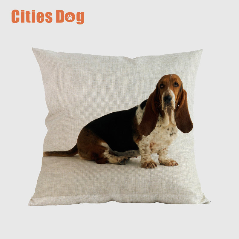 Animal Dog Cushion Cover Throw Pillow Cove Basset Hound Dogs Cushions Christmas Gift Pet Home Decorative Pillowcase Almofadas