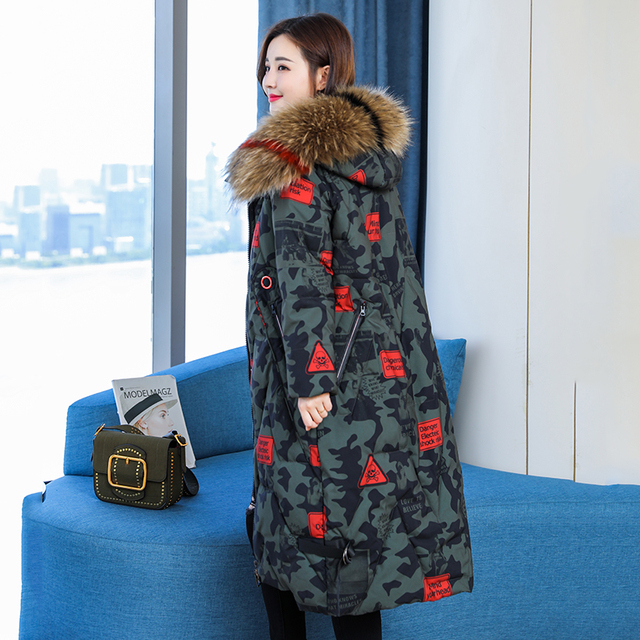 Women Winter Coats with Genuine Raccoon Fur Collar Ladies Thick Padded Jackets  Winter Coat Women   Ropa De Invierno Para Mujer