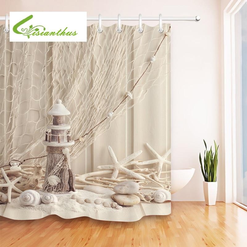 Seascape Sea Beach Printed Shower Curtains Bathroom Curtain Waterproof Fabric Starfish Products