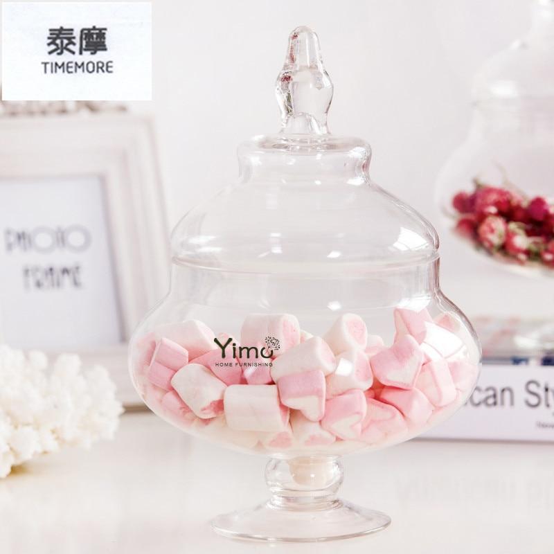 Large glass candy jar with lid storage tank dessert mason jar for storage bottle Wedding Banquet