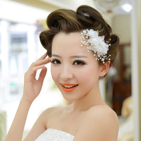 White Pearl Hairwear Với Comb Wedding Cô Dâu Flower Headband Bridal Tóc Phụ Kiện Bán Buôn AM001