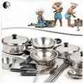 Crianças Pretend Play Brinquedos Cozinha 18 pçs/set Utensílios de Cozinha Acessórios de Cozinha Conjunto de brinquedo Conjunto de Cozinha Em Miniatura Para As Crianças HT139