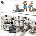 Kids Pretend Play Kitchen Toys 18pcs/set Kitchenware Miniature Cooking Set For Children Kitchen Accessories Set brinquedo HT139