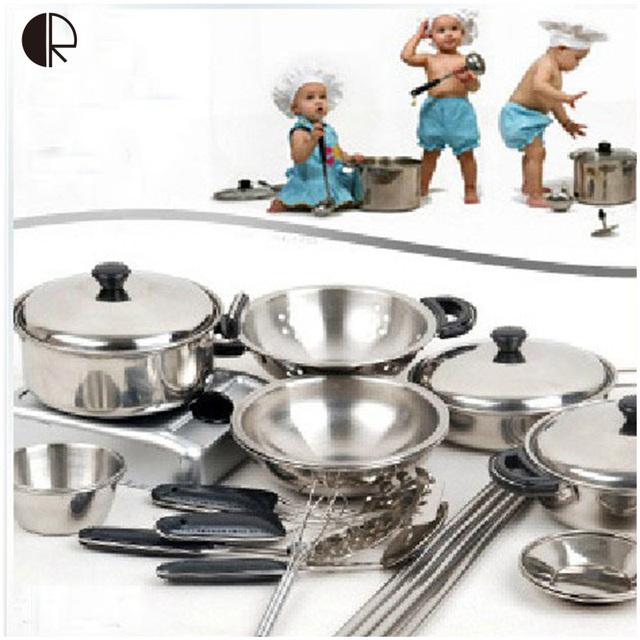 Los niños Juegos de imaginación Cocina Juguetes 18 unids/set Miniatura de Cocina Set de Cocina Para Niños Accesorios de Cocina Set brinquedo HT139