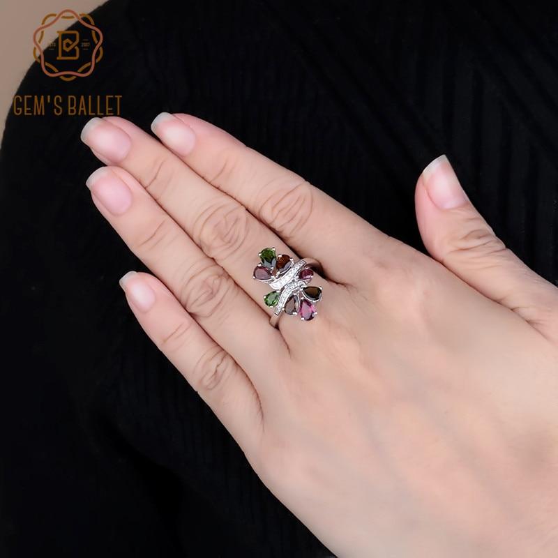 BALLET de GEM'S mode mariage naturel Chrome Diopside Rhodolite grenat Tourmaline anneau 925 en argent Sterling anneaux cadeau pour les femmes
