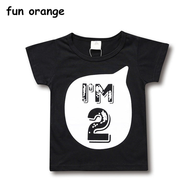 Fun Orange Childrens T Shirts For Baby Girls Boys Birthday Age Summer Clothes Kids Shirt Toddlers Tee Tops 0 6 Years