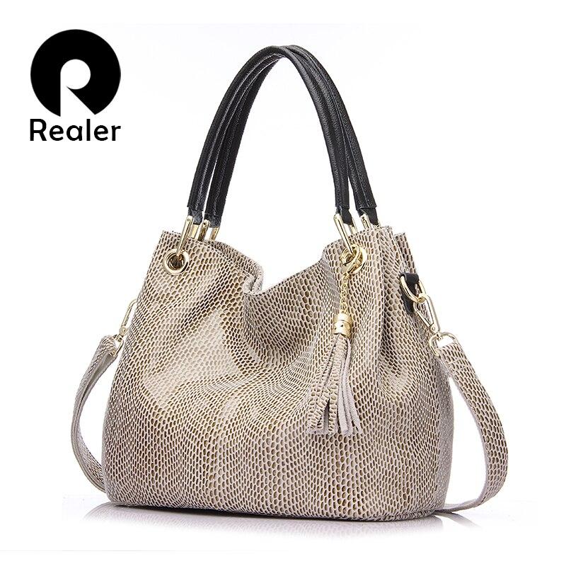 Realer donna borse genuino femminile sacchetto di cuoio hobos crossbody spalla borse in pelle di alta qualità totes donne borsa messenger