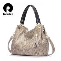 REALER Brand Handbag Women Genuine Leather Bag Female Hobos Shoulder Bags High Quality Leather Tote Bag