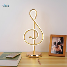 Nordic Art Deco Music Notes Acrylic Table Lamps for Living Room Bedroom Home Decor Bedside Lamp Modern Design Lights Fixture Led(China)