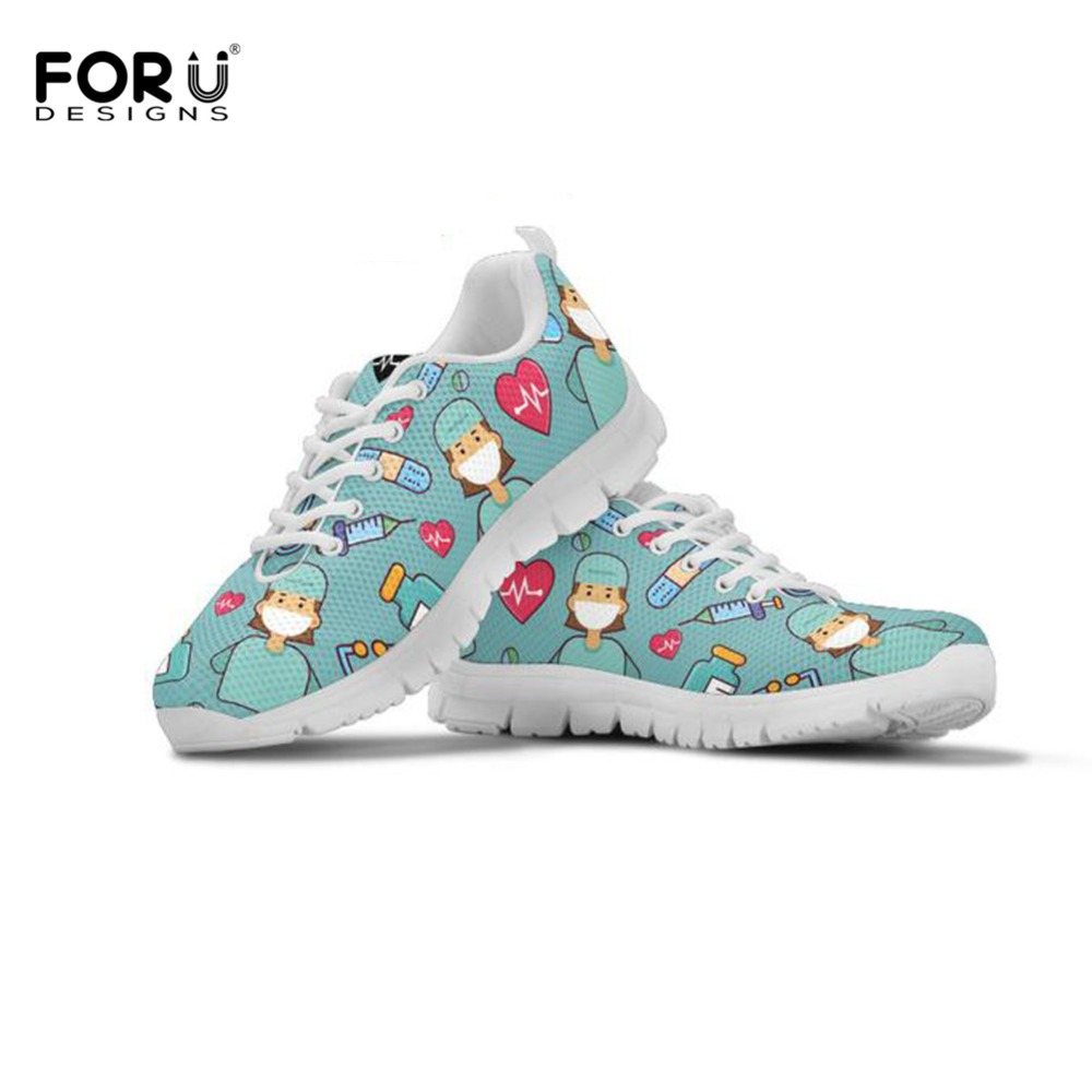 FORUDESIGNS Life-Saver Sneakers Flats Mesh Shoes Comfortable Nurse/doctor Casual Women's