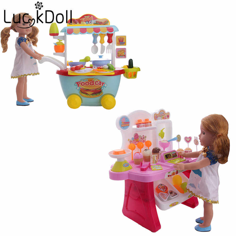 Luckydoll doll accessories ice cream cart, food cart suitable for 14.5 inch American female doll accessories toy Christmas gift