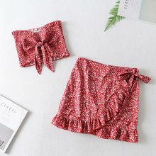 2019 new design women skirt suit crop top with bow and tops mini skirts suits streetwear summer woman beach fashion clothes
