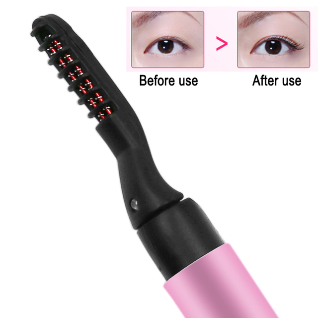Purple Pink Portable Pen Style Electric Perm Heated Eyelash Curler Long Lasting Eye lash Curler Makeup Curling Kit For Women 3
