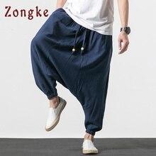 Zongke уличная одежда из хлопка и льна, мужские брюки, мужские брюки для бега, хип-хоп спортивные штаны, джоггеры, брюки карго для мужчин, новинка