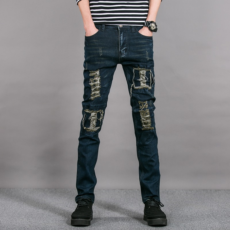 2017 Envmenst New mens jeans brand destroyed hole straight men's robin slim frayed denim true harem for men