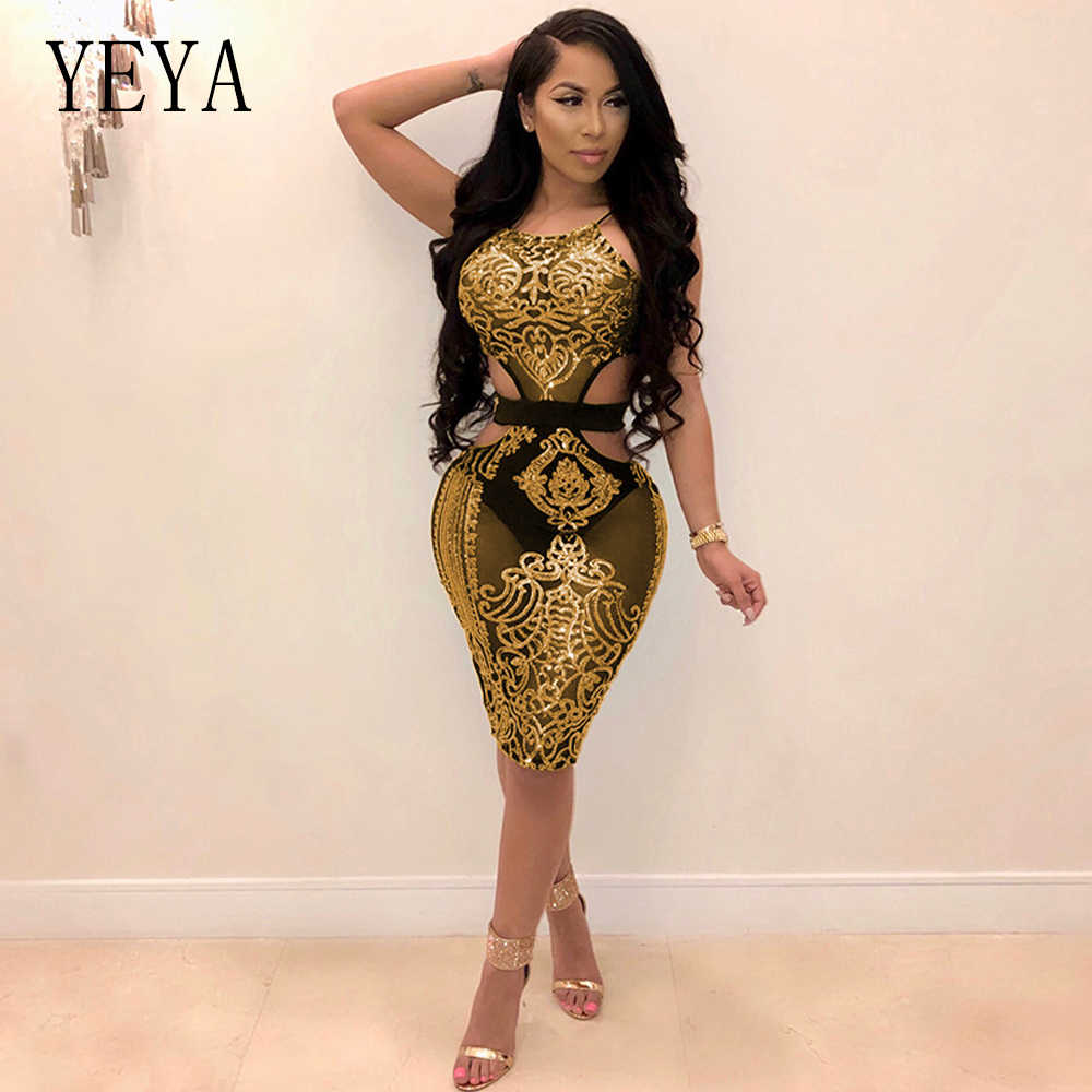 e00d378ad0b ... YEYA Women Sequin Dresses Halter Backless Hollow Out Party Night Club  Dress Sexy See Through Bodycon ...
