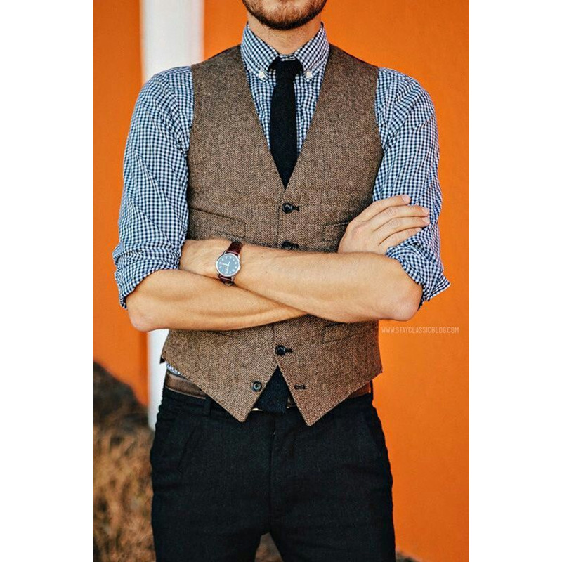 Suits & Blazers Objective Showersmile Gray Herringbone Wool Vest Men Brand Sleeveless Jacket Stripes Plus Size Suit Blazer Vintage Waistcoat With Pockets