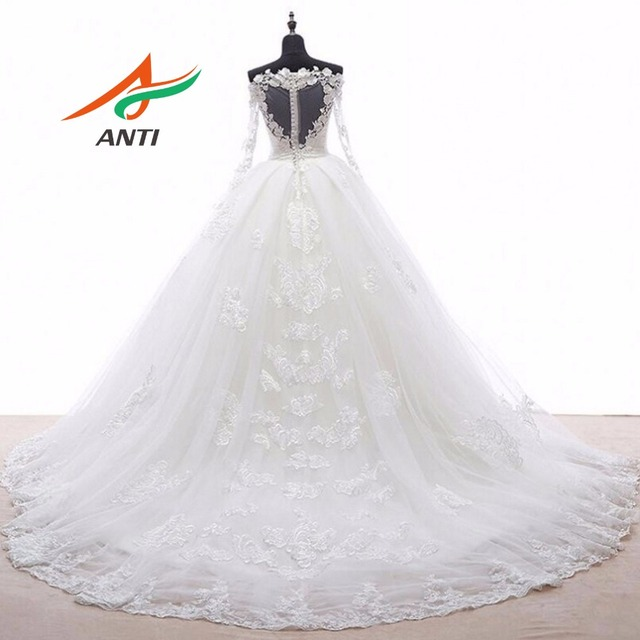 ANTI Elegant Ball Gown Wedding Dress With Long Sleeves Tull Appliques Custom Made 2 Wings Open Train Robe De Mariee Bridal Gown 2