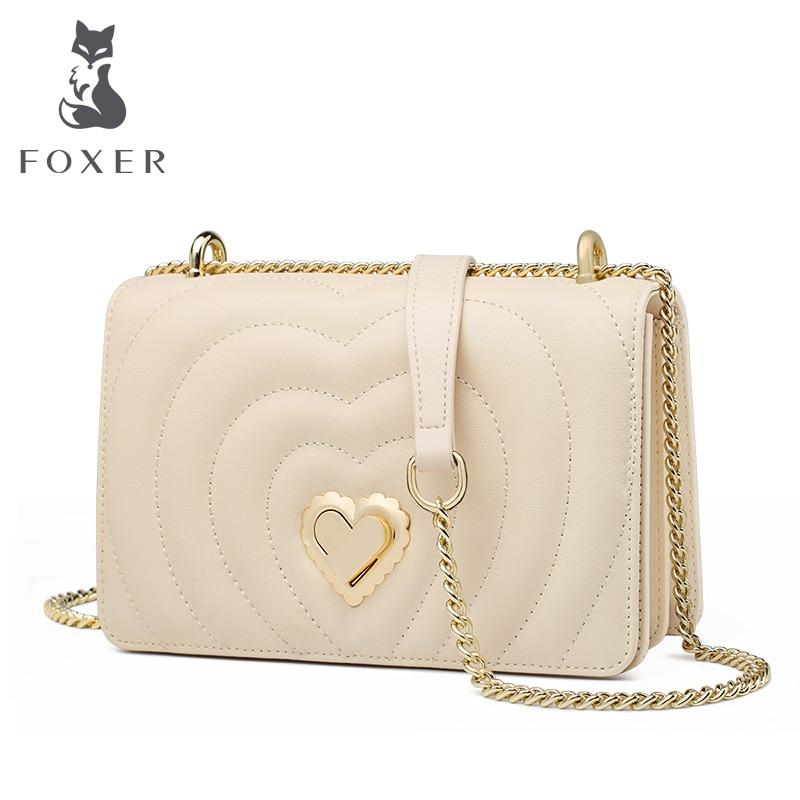 FOXER Brand Chic Female Valentine s Day present Skin Messenger Bags Elegant Lady Love Flap Bag