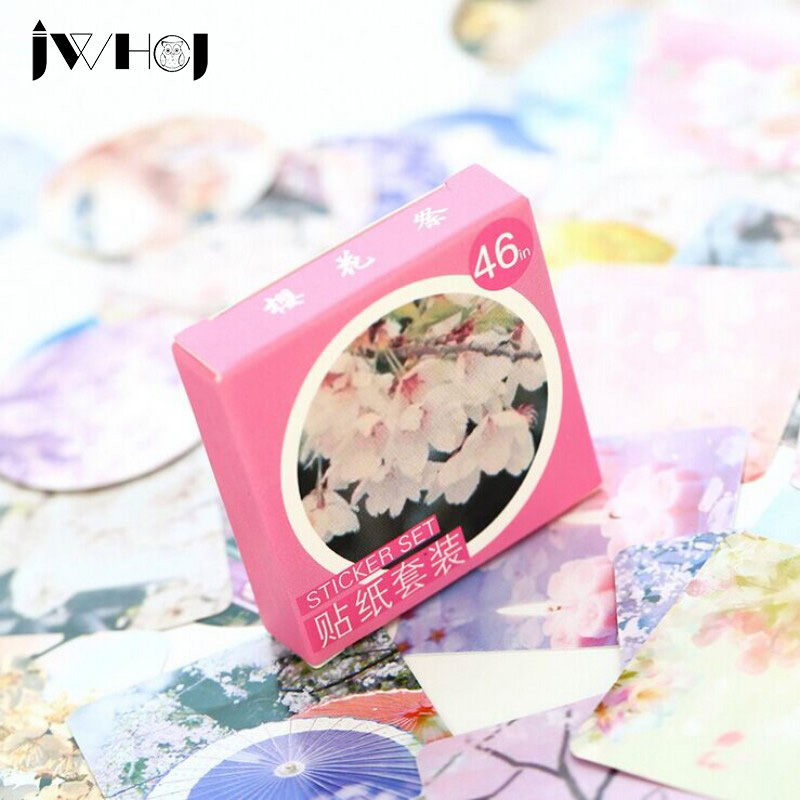 46 pcs/box JWHCJ Sakura offering paper sticker decoration DIY diary scrapbooking sealing sticker childrens favorite stationery