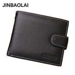 JINBAOLAI, кожаные мужские кошельки, Одноцветный образец, стильный кошелек на молнии, Мужской кошелек для карт, кожаный, известный бренд, высокое...