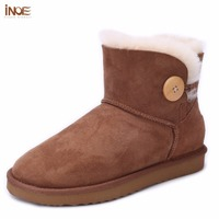 INOE Genuine Sheepskin Leather Short Ankle Suede Snow Boots For Women Wool Fur Lined Winter Shoes